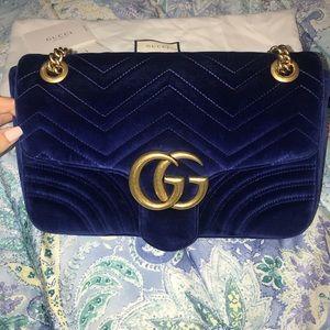 Gucci marmont sz M cobalt blue velvet shoulder bag
